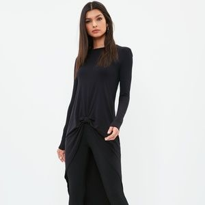 Missguided black knot tunic top